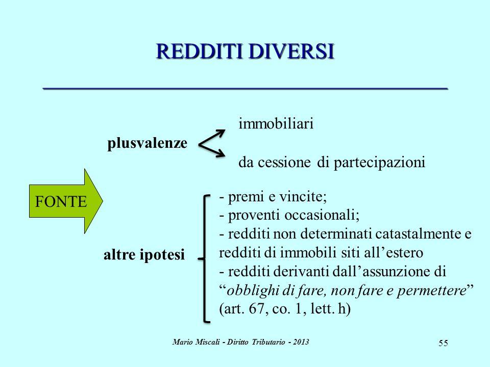 Mario Miscali - Diritto Tributario - 2013 55 REDDITI DIVERSI _____________________________________ FONTE plusvalenze altre ipotesi - premi e vincite;
