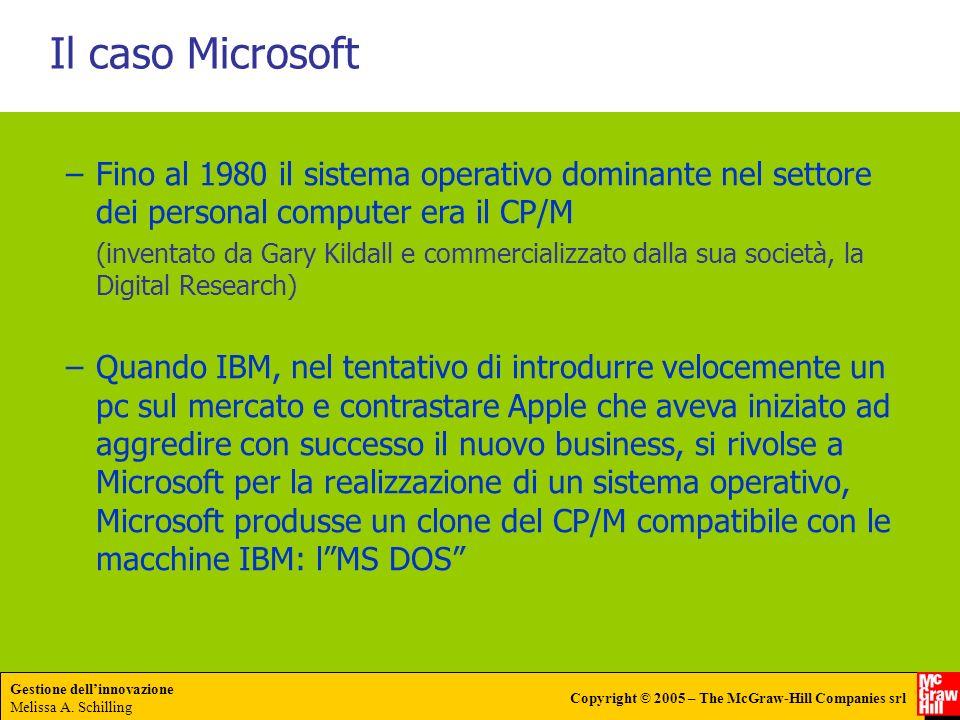 Gestione dellinnovazione Melissa A. Schilling Copyright © 2005 – The McGraw-Hill Companies srl Il caso Microsoft –Fino al 1980 il sistema operativo do