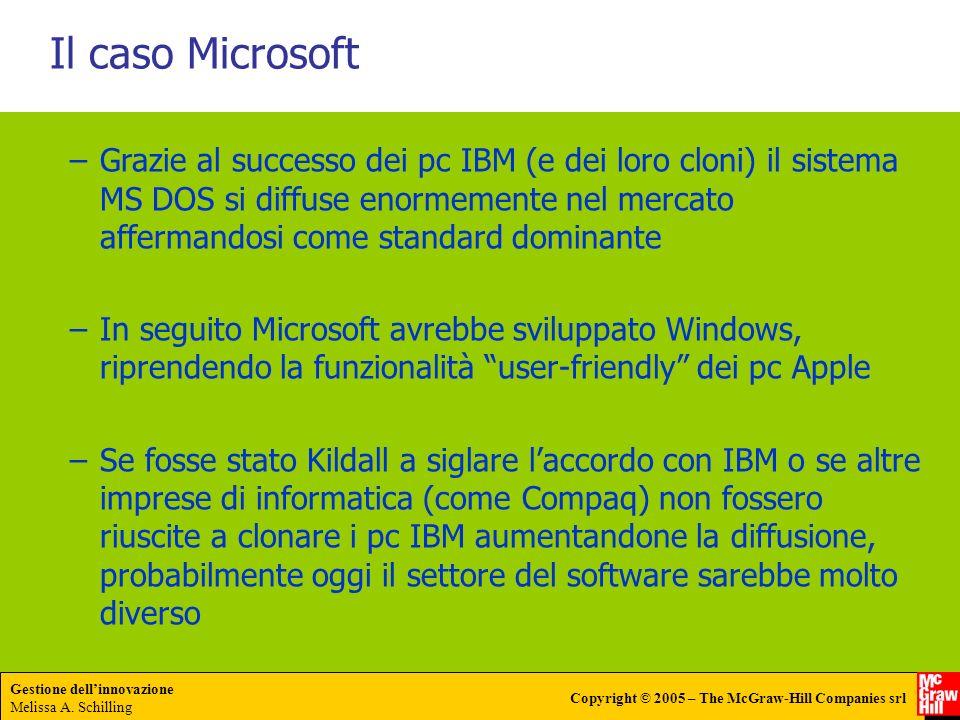 Gestione dellinnovazione Melissa A. Schilling Copyright © 2005 – The McGraw-Hill Companies srl Il caso Microsoft –Grazie al successo dei pc IBM (e dei