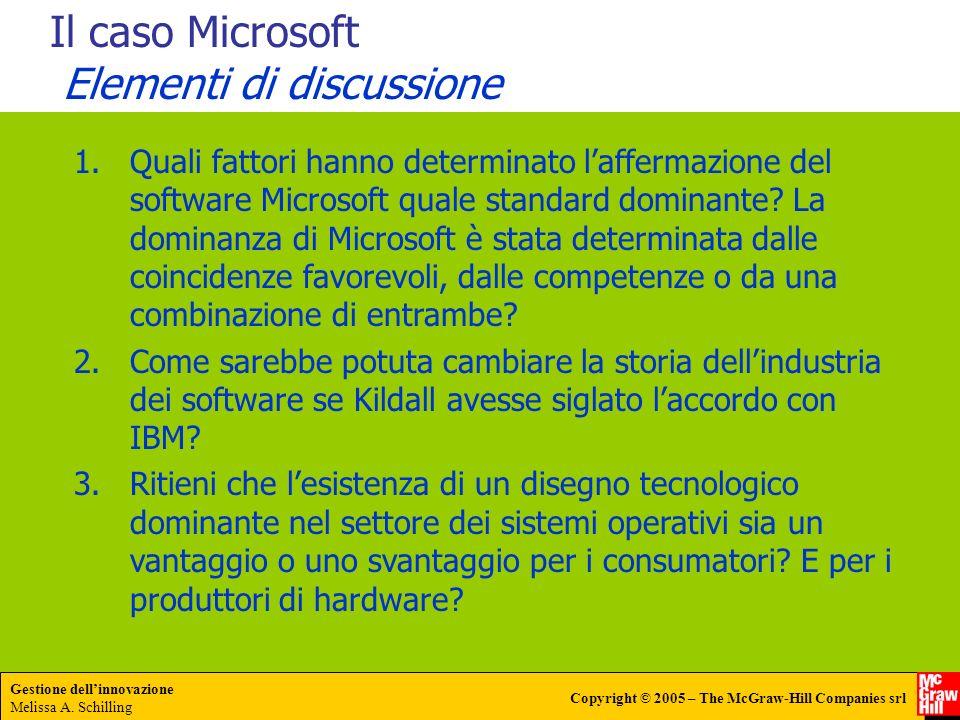 Gestione dellinnovazione Melissa A. Schilling Copyright © 2005 – The McGraw-Hill Companies srl Il caso Microsoft Elementi di discussione 1.Quali fatto