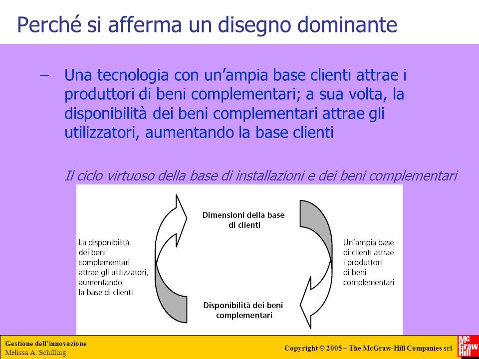 Gestione dellinnovazione Melissa A. Schilling Copyright © 2005 – The McGraw-Hill Companies srl –Una tecnologia con unampia base clienti attrae i produ