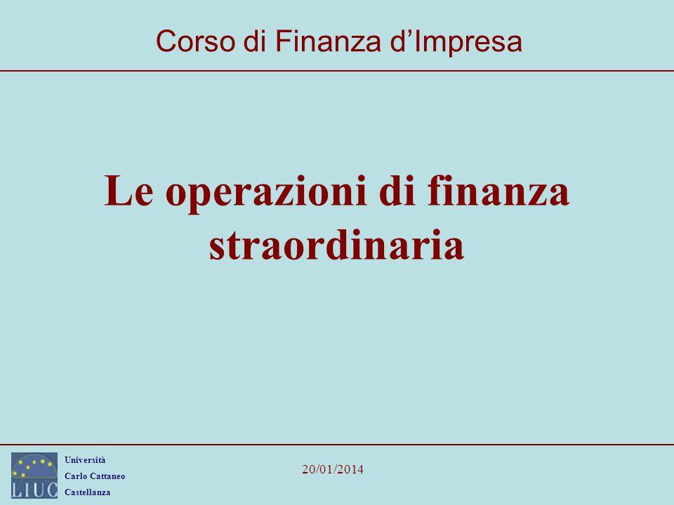 Università Carlo Cattaneo Castellanza 20/01/2014 22 LBO: un caso (EBIT = 5) CasoIpotesi 1Ipotesi 2Ipotesi 3Ipotesi 4 Capitale proprio della società acquirente4020105 Finanziamenti ricevuti30506065 Prezzo70 EBIT della società target prima della acquisizione5555 Imposte (35%)1,75 Utile prima della operazione di acquisto3,25 Interessi passivi pagati dalla acquirente3,05,06,06,5 EBIT acquirente dopo l acquisizione2,00,0-1,0-1,5 Imposte (35%)0,7000 Utile netto acquirente dopo l acquisizione1,30,0-1,0-1,5 Leva0,752,5613 ROE3,3%0,0%-10,0%-30,0%