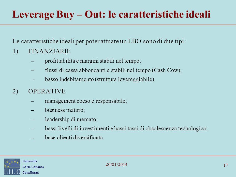 Università Carlo Cattaneo Castellanza 20/01/2014 17 Leverage Buy – Out: le caratteristiche ideali Le caratteristiche ideali per poter attuare un LBO s