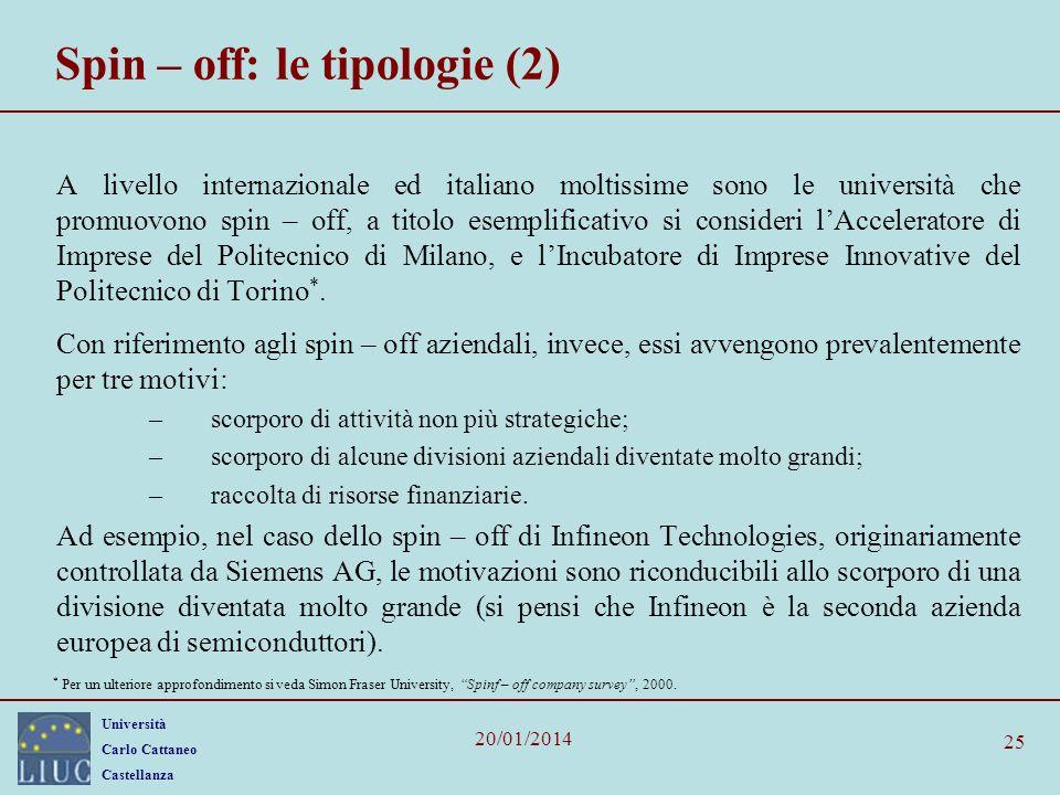 Università Carlo Cattaneo Castellanza 20/01/2014 25 Spin – off: le tipologie (2) A livello internazionale ed italiano moltissime sono le università ch