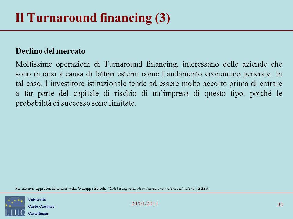 Università Carlo Cattaneo Castellanza 20/01/2014 30 Il Turnaround financing (3) Declino del mercato Moltissime operazioni di Turnaround financing, int