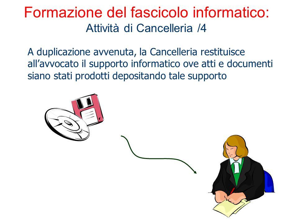 Formazione del fascicolo informatico: Attività di Cancelleria /4 A duplicazione avvenuta, la Cancelleria restituisce allavvocato il supporto informati