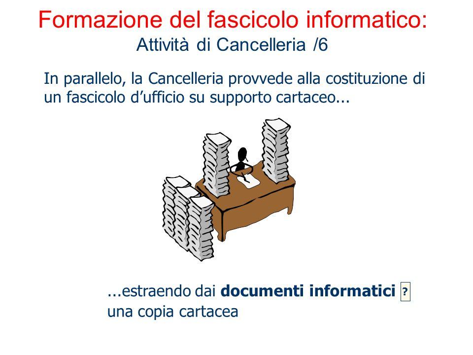 Formazione del fascicolo informatico: Attività di Cancelleria /6 In parallelo, la Cancelleria provvede alla costituzione di un fascicolo dufficio su s