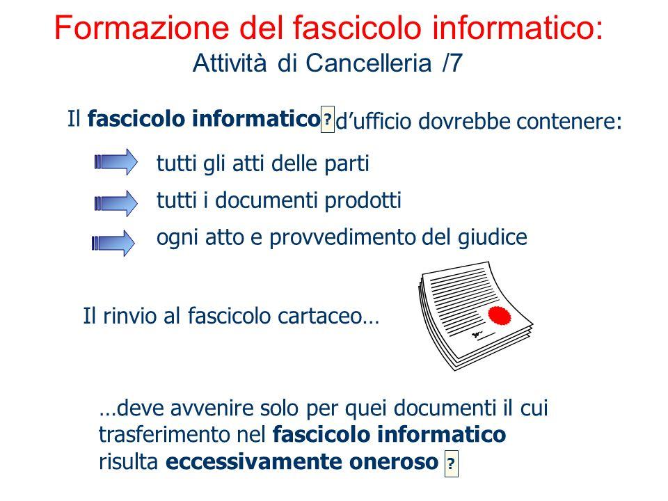 Formazione del fascicolo informatico: Attività di Cancelleria /7 …deve avvenire solo per quei documenti il cui trasferimento nel fascicolo informatico