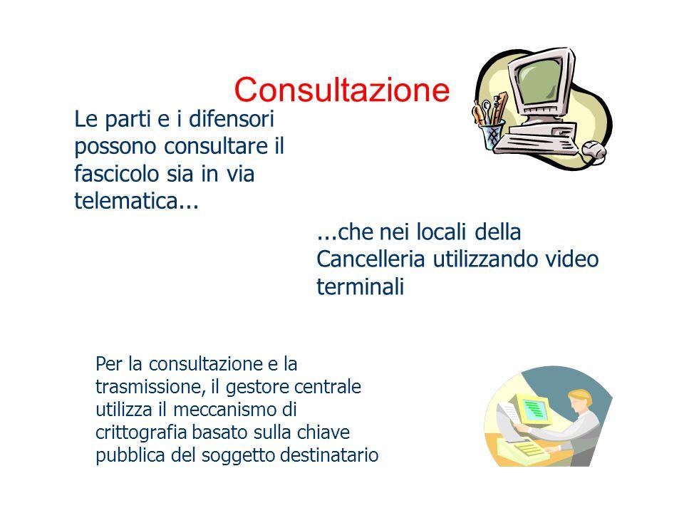 Consultazione...che nei locali della Cancelleria utilizzando video terminali Le parti e i difensori possono consultare il fascicolo sia in via telemat