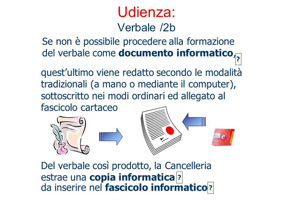 Udienza: Verbale /2b da inserire nel fascicolo informatico questultimo viene redatto secondo le modalità tradizionali (a mano o mediante il computer),
