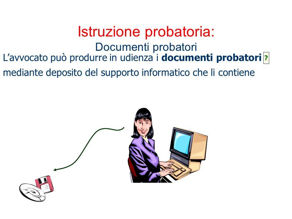 Istruzione probatoria: Documenti probatori Lavvocato può produrre in udienza i documenti probatori mediante deposito del supporto informatico che li c