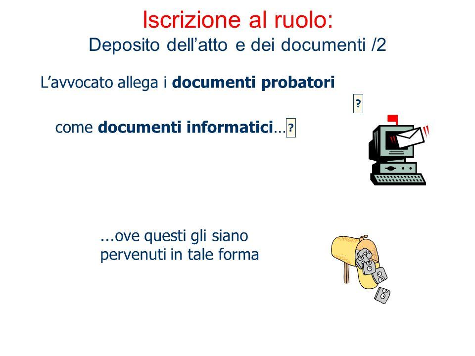 Iscrizione al ruolo: Deposito dellatto e dei documenti /2 Lavvocato allega i documenti probatori...ove questi gli siano pervenuti in tale forma come d