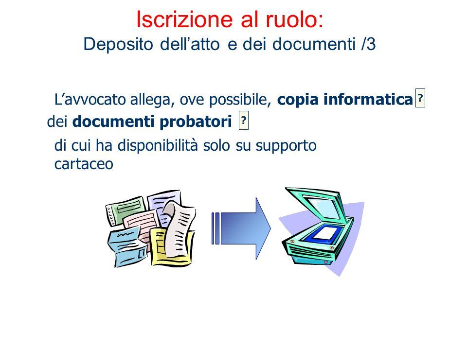 Iscrizione al ruolo: Deposito dellatto e dei documenti /3 dei documenti probatori Lavvocato allega, ove possibile, copia informatica ? ? di cui ha dis