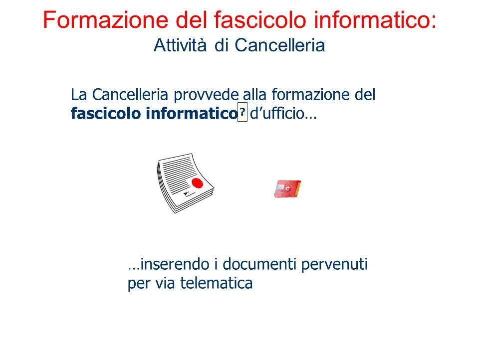 Formazione del fascicolo informatico: Attività di Cancelleria La Cancelleria provvede alla formazione del fascicolo informatico …inserendo i documenti