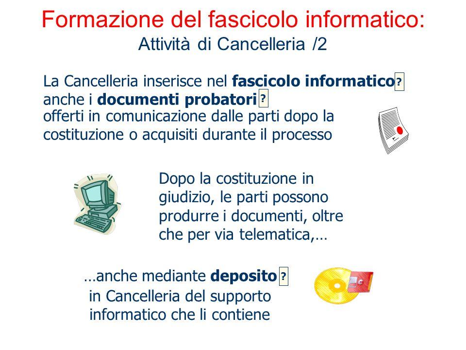 Formazione del fascicolo informatico: Attività di Cancelleria /2 …anche mediante deposito La Cancelleria inserisce nel fascicolo informatico Dopo la c