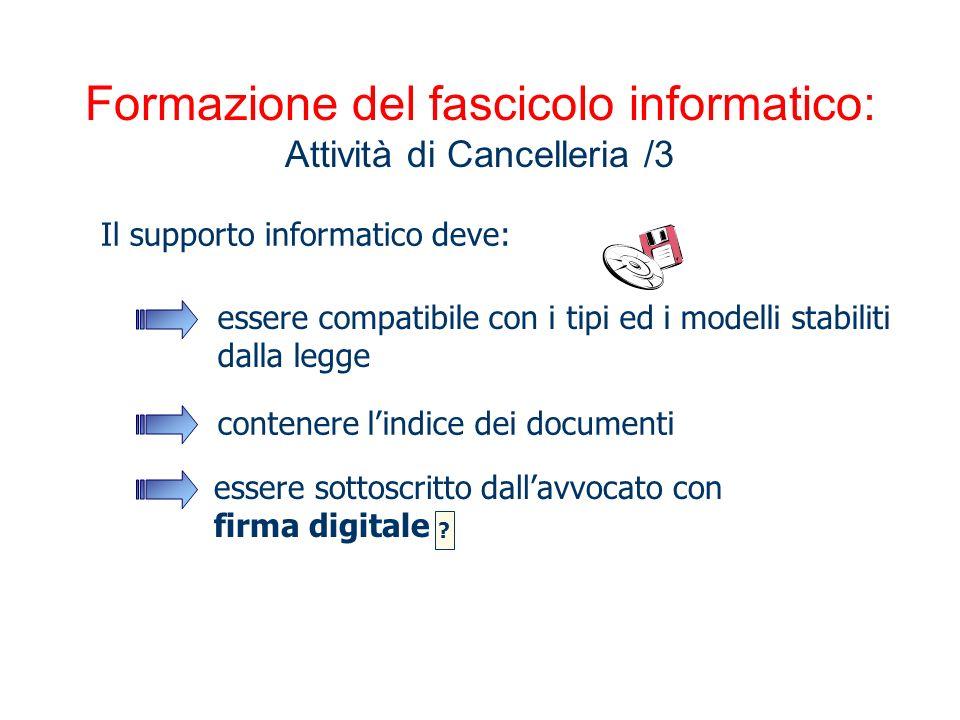 Formazione del fascicolo informatico: Attività di Cancelleria /3 Il supporto informatico deve: essere compatibile con i tipi ed i modelli stabiliti da