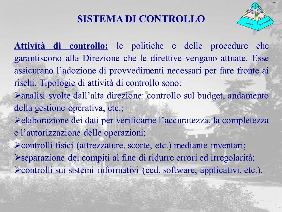 m&m Attività di controllo: le politiche e delle procedure che garantiscono alla Direzione che le direttive vengano attuate. Esse assicurano ladozione