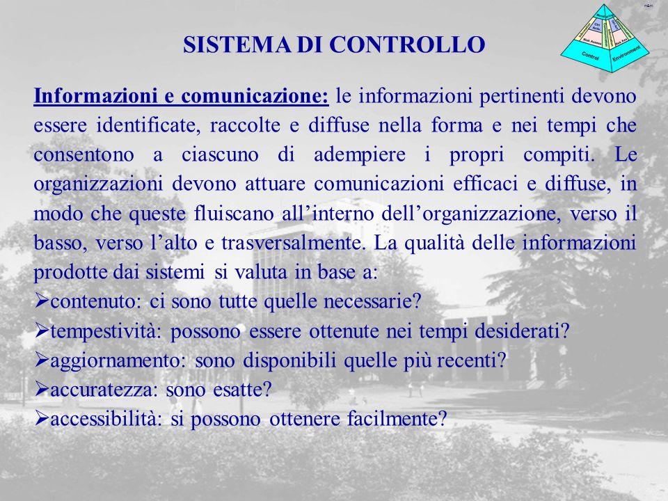 m&m Informazioni e comunicazione: le informazioni pertinenti devono essere identificate, raccolte e diffuse nella forma e nei tempi che consentono a ciascuno di adempiere i propri compiti.
