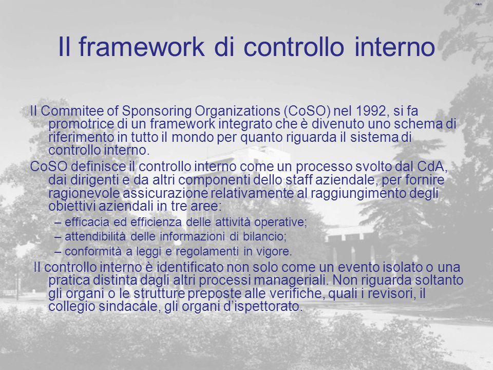 m&m Il framework di controllo interno Il Commitee of Sponsoring Organizations (CoSO) nel 1992, si fa promotrice di un framework integrato che è divenuto uno schema di riferimento in tutto il mondo per quanto riguarda il sistema di controllo interno.