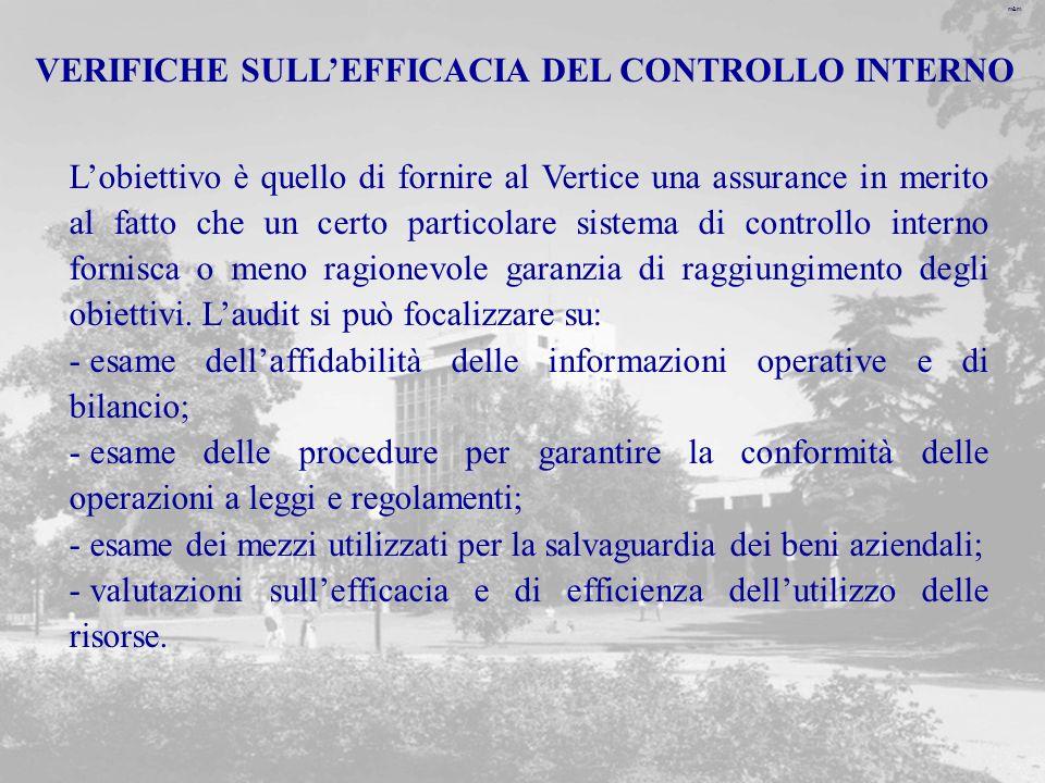 m&m VERIFICHE SULLEFFICACIA DEL CONTROLLO INTERNO Lobiettivo è quello di fornire al Vertice una assurance in merito al fatto che un certo particolare sistema di controllo interno fornisca o meno ragionevole garanzia di raggiungimento degli obiettivi.
