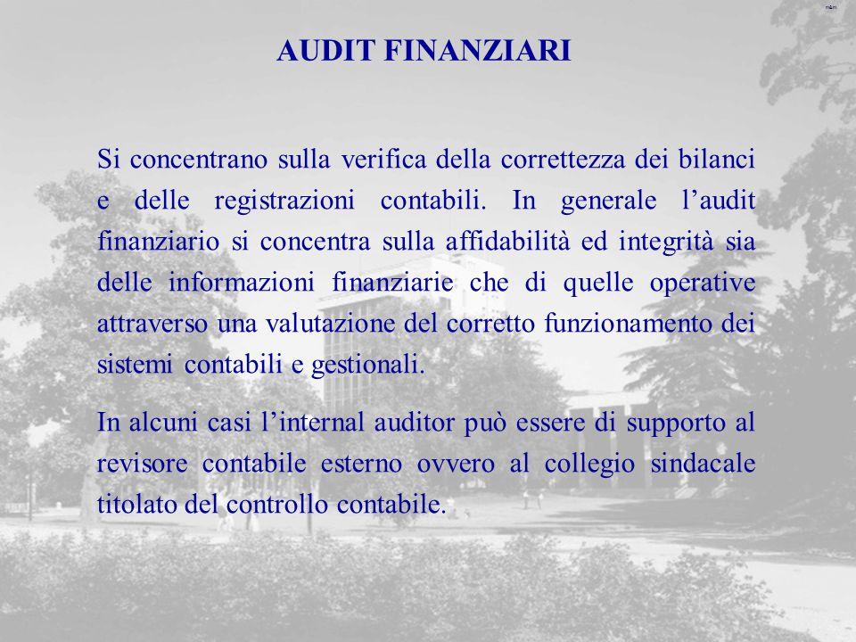 m&m AUDIT FINANZIARI Si concentrano sulla verifica della correttezza dei bilanci e delle registrazioni contabili.