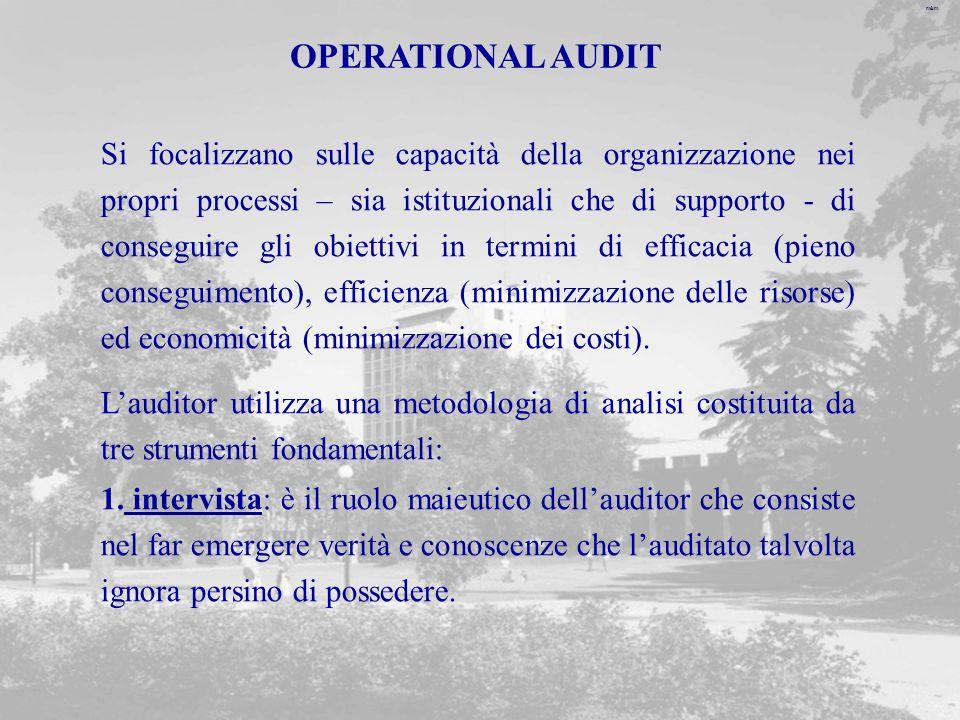 m&m OPERATIONAL AUDIT Si focalizzano sulle capacità della organizzazione nei propri processi – sia istituzionali che di supporto - di conseguire gli obiettivi in termini di efficacia (pieno conseguimento), efficienza (minimizzazione delle risorse) ed economicità (minimizzazione dei costi).