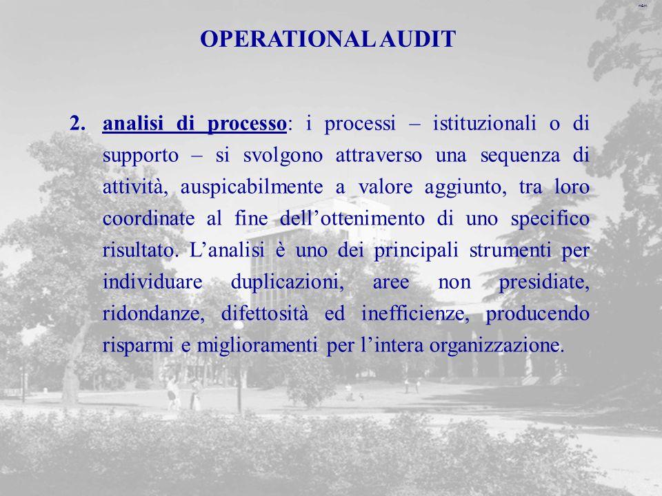 m&m OPERATIONAL AUDIT 2.analisi di processo: i processi – istituzionali o di supporto – si svolgono attraverso una sequenza di attività, auspicabilmente a valore aggiunto, tra loro coordinate al fine dellottenimento di uno specifico risultato.