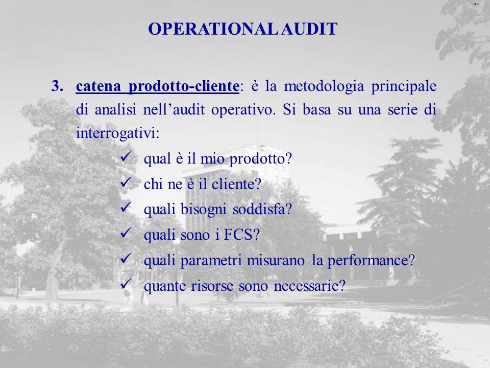 m&m OPERATIONAL AUDIT 3.catena prodotto-cliente: è la metodologia principale di analisi nellaudit operativo.