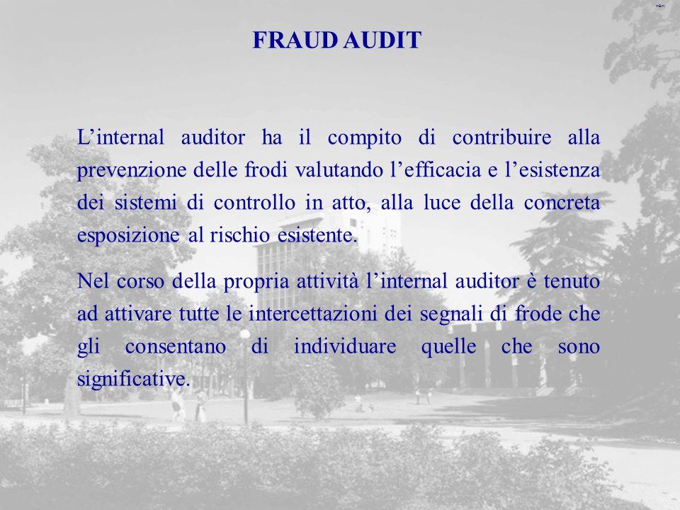 m&m FRAUD AUDIT Linternal auditor ha il compito di contribuire alla prevenzione delle frodi valutando lefficacia e lesistenza dei sistemi di controllo in atto, alla luce della concreta esposizione al rischio esistente.