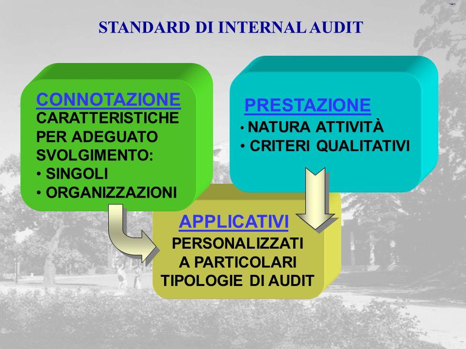 m&m PERSONALIZZATI A PARTICOLARI TIPOLOGIE DI AUDIT APPLICATIVI NATURA ATTIVITÀ CRITERI QUALITATIVI PRESTAZIONE CARATTERISTICHE PER ADEGUATO SVOLGIMENTO: SINGOLI ORGANIZZAZIONI CONNOTAZIONE STANDARD DI INTERNAL AUDIT