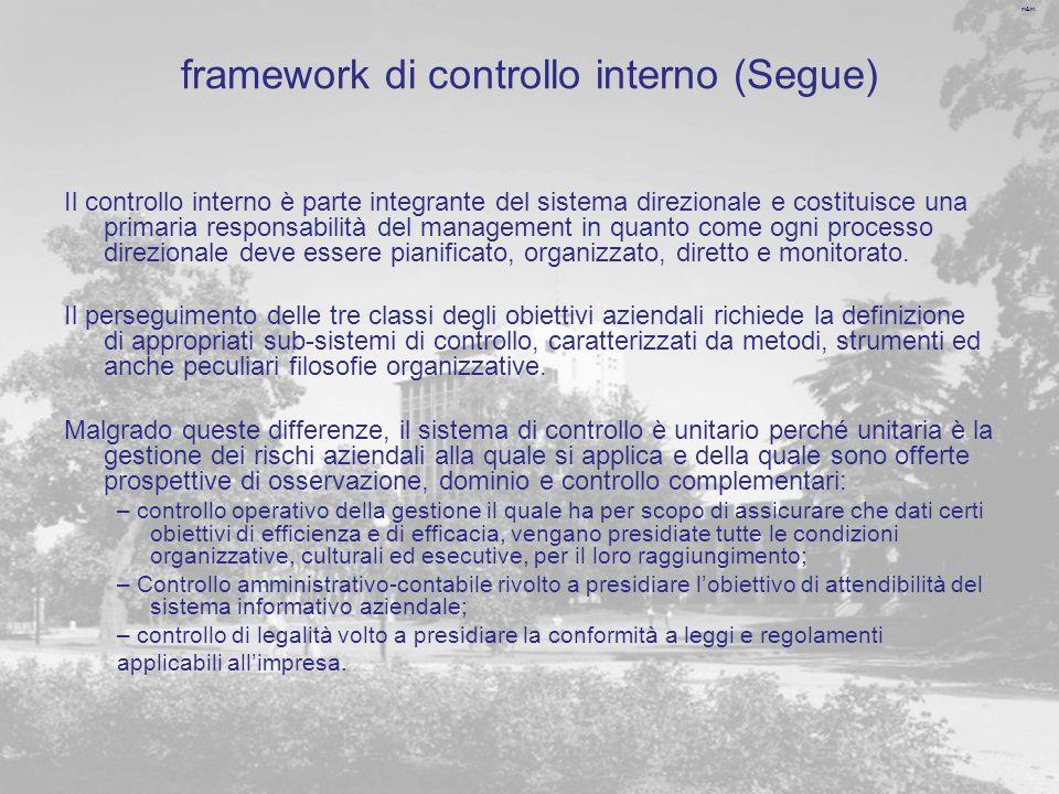 m&m framework di controllo interno (Segue) Il controllo interno è parte integrante del sistema direzionale e costituisce una primaria responsabilità del management in quanto come ogni processo direzionale deve essere pianificato, organizzato, diretto e monitorato.