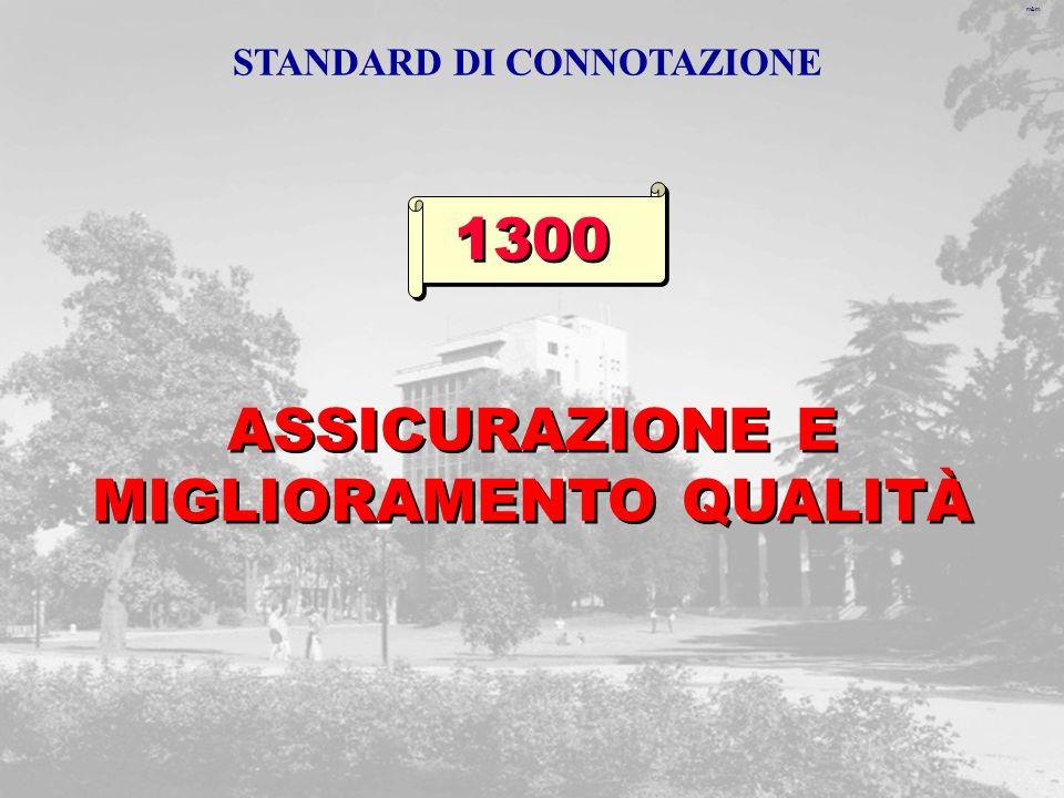 m&m ASSICURAZIONE E MIGLIORAMENTO QUALITÀ 1300 STANDARD DI CONNOTAZIONE