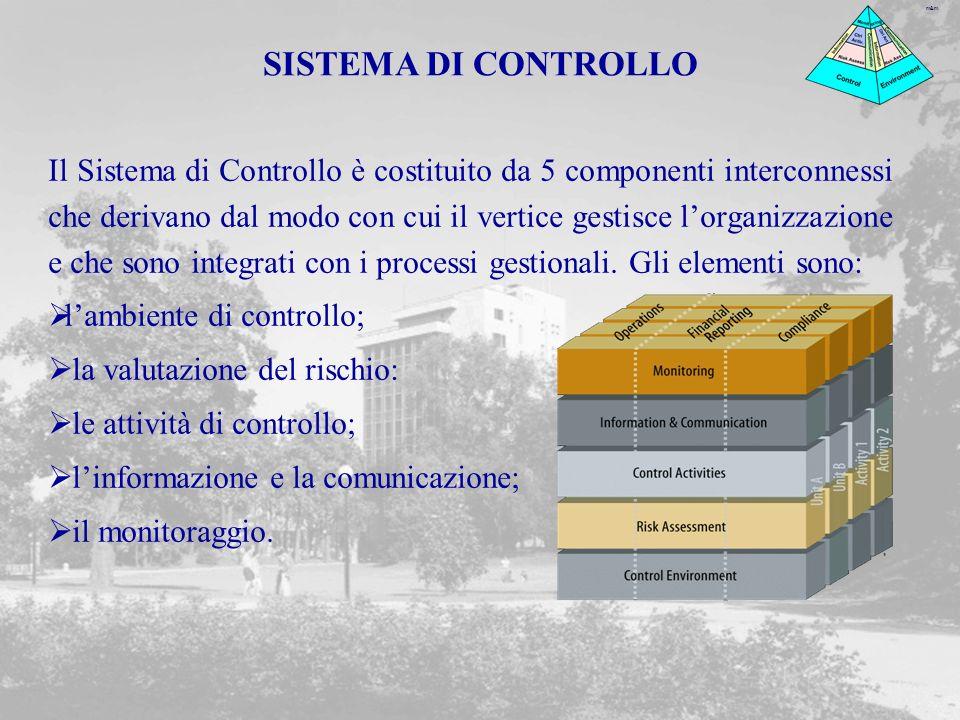 m&m Il Sistema di Controllo è costituito da 5 componenti interconnessi che derivano dal modo con cui il vertice gestisce lorganizzazione e che sono integrati con i processi gestionali.
