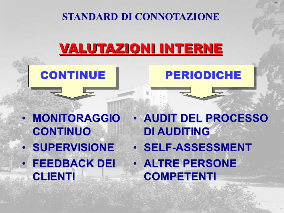m&m VALUTAZIONI INTERNE CONTINUE MONITORAGGIO CONTINUOMONITORAGGIO CONTINUO SUPERVISIONESUPERVISIONE FEEDBACK DEI CLIENTIFEEDBACK DEI CLIENTI AUDIT DEL PROCESSO DI AUDITINGAUDIT DEL PROCESSO DI AUDITING SELF-ASSESSMENTSELF-ASSESSMENT ALTRE PERSONE COMPETENTIALTRE PERSONE COMPETENTI PERIODICHE STANDARD DI CONNOTAZIONE