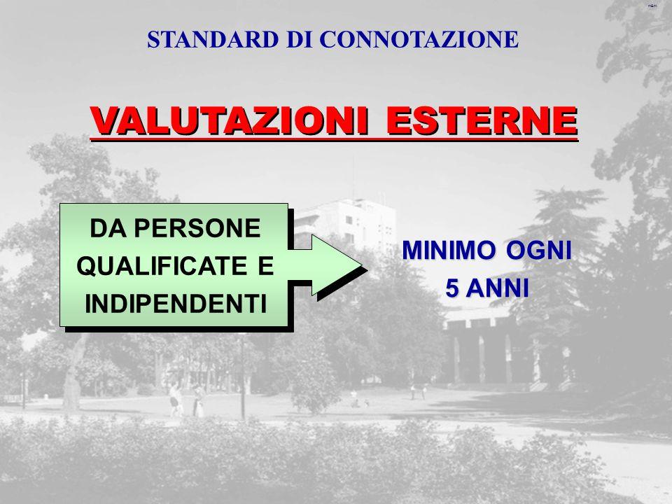 m&m VALUTAZIONI ESTERNE DA PERSONE QUALIFICATE E INDIPENDENTI MINIMO OGNI 5 ANNI STANDARD DI CONNOTAZIONE