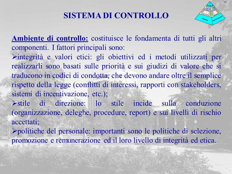 m&m Ambiente di controllo: costituisce le fondamenta di tutti gli altri componenti.