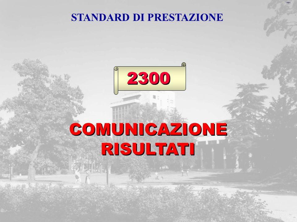 m&m 2300 COMUNICAZIONE RISULTATI STANDARD DI PRESTAZIONE