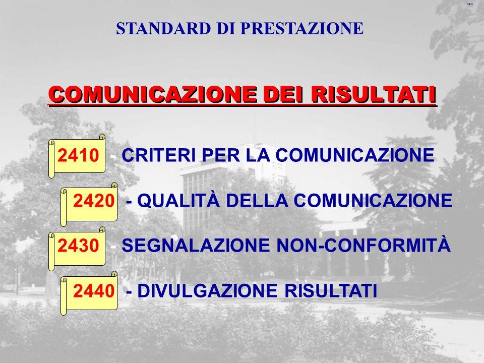 m&m 2410 - CRITERI PER LA COMUNICAZIONE 2420 - QUALITÀ DELLA COMUNICAZIONE 2430 - SEGNALAZIONE NON-CONFORMITÀ 2440 - DIVULGAZIONE RISULTATI COMUNICAZIONE DEI RISULTATI STANDARD DI PRESTAZIONE