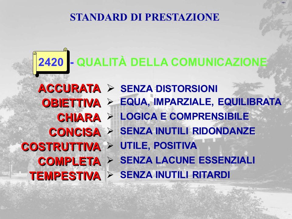 m&m ACCURATA SENZA DISTORSIONI EQUA, IMPARZIALE, EQUILIBRATA OBIETTIVA 2420 - QUALITÀ DELLA COMUNICAZIONE LOGICA E COMPRENSIBILE CHIARA SENZA INUTILI RIDONDANZE CONCISA UTILE, POSITIVA COSTRUTTIVA SENZA LACUNE ESSENZIALI COMPLETA SENZA INUTILI RITARDI TEMPESTIVA STANDARD DI PRESTAZIONE