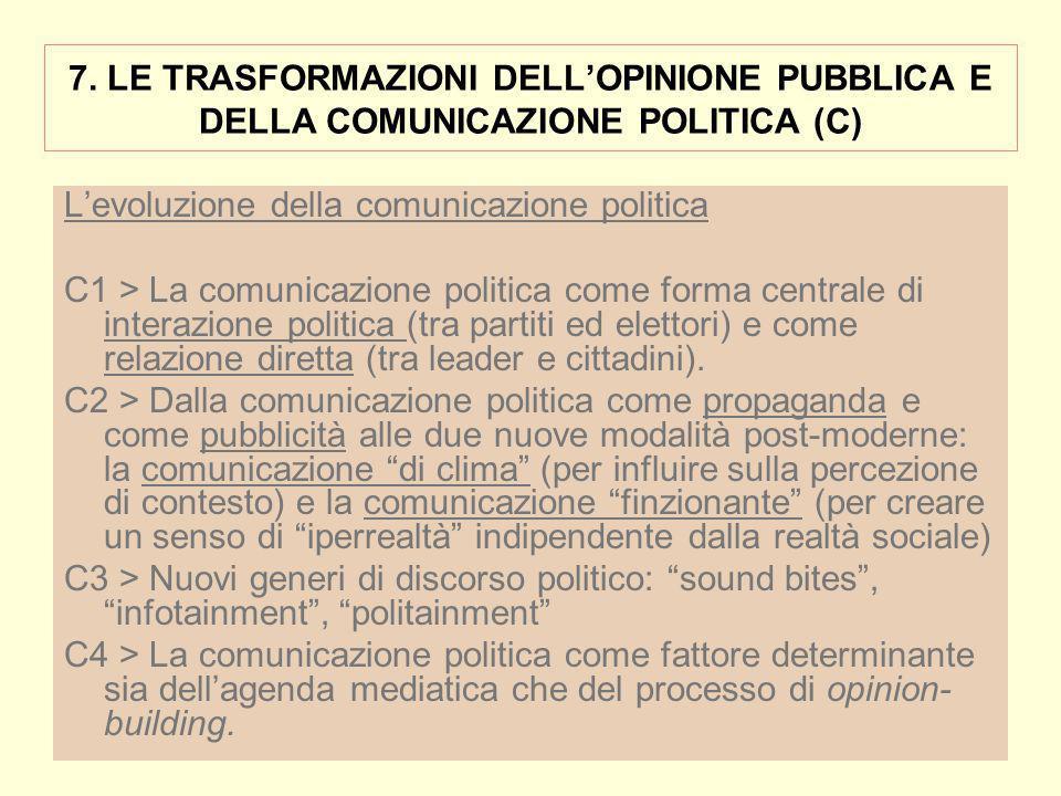 7. LE TRASFORMAZIONI DELLOPINIONE PUBBLICA E DELLA COMUNICAZIONE POLITICA (C) Levoluzione della comunicazione politica C1 > La comunicazione politica