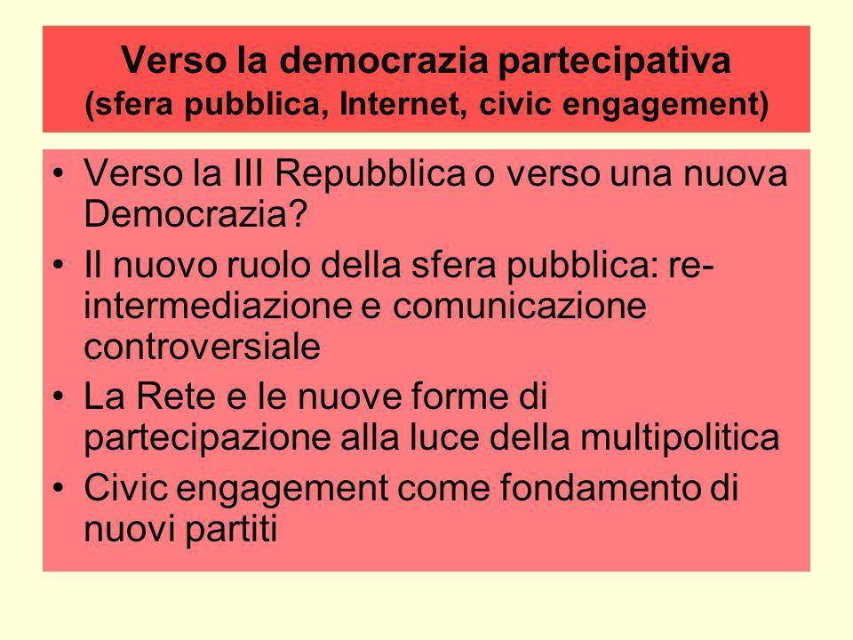 Verso la democrazia partecipativa (sfera pubblica, Internet, civic engagement) Verso la III Repubblica o verso una nuova Democrazia.