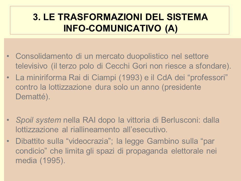 3. LE TRASFORMAZIONI DEL SISTEMA INFO-COMUNICATIVO (A) Consolidamento di un mercato duopolistico nel settore televisivo (il terzo polo di Cecchi Gori