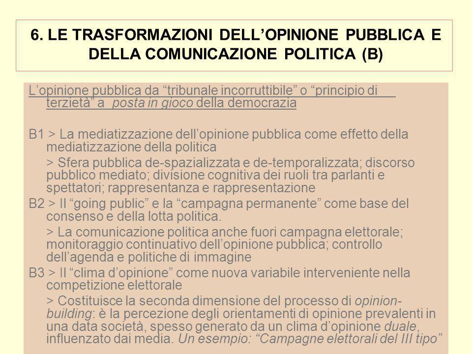 6. LE TRASFORMAZIONI DELLOPINIONE PUBBLICA E DELLA COMUNICAZIONE POLITICA (B) Lopinione pubblica da tribunale incorruttibile o principio di terzietà a
