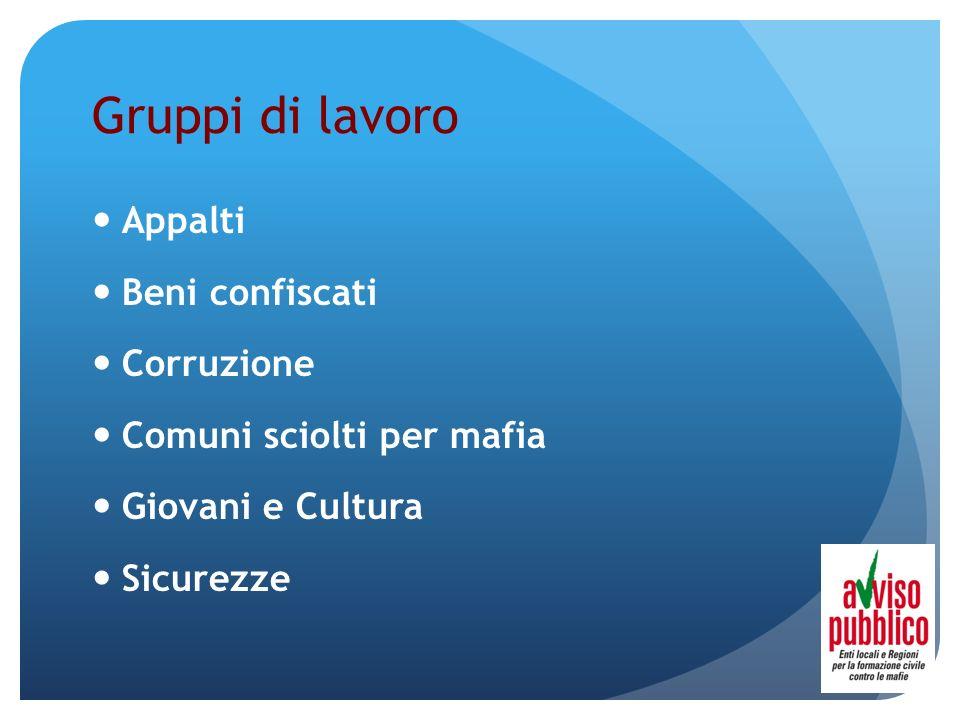 Gruppi di lavoro Appalti Beni confiscati Corruzione Comuni sciolti per mafia Giovani e Cultura Sicurezze