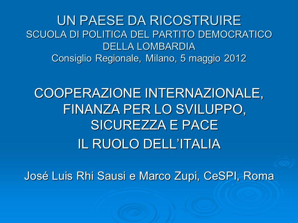 UN PAESE DA RICOSTRUIRE SCUOLA DI POLITICA DEL PARTITO DEMOCRATICO DELLA LOMBARDIA Consiglio Regionale, Milano, 5 maggio 2012 COOPERAZIONE INTERNAZIONALE, FINANZA PER LO SVILUPPO, SICUREZZA E PACE IL RUOLO DELLITALIA José Luis Rhi Sausi e Marco Zupi, CeSPI, Roma