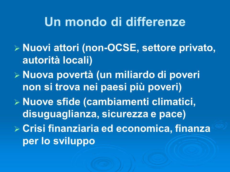Un mondo di differenze Nuovi attori (non-OCSE, settore privato, autorità locali) Nuova povertà (un miliardo di poveri non si trova nei paesi più poveri) Nuove sfide (cambiamenti climatici, disuguaglianza, sicurezza e pace) Crisi finanziaria ed economica, finanza per lo sviluppo