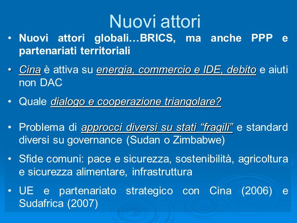 Nuovi attori Nuovi attori globali…BRICS, ma anche PPP e partenariati territoriali Cinaenergia, commercio e IDE, debitoCina è attiva su energia, commercio e IDE, debito e aiuti non DAC dialogo e cooperazione triangolare Quale dialogo e cooperazione triangolare.