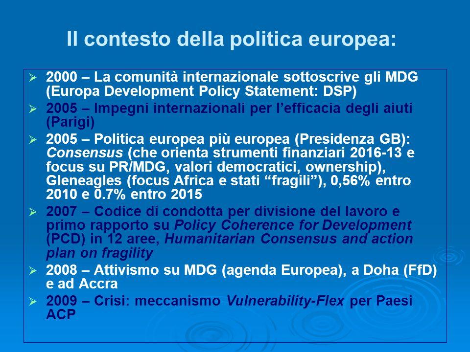 Il contesto della politica europea: 2000 – La comunità internazionale sottoscrive gli MDG (Europa Development Policy Statement: DSP) 2005 – Impegni internazionali per lefficacia degli aiuti (Parigi) 2005 – Politica europea più europea (Presidenza GB): Consensus (che orienta strumenti finanziari 2016-13 e focus su PR/MDG, valori democratici, ownership), Gleneagles (focus Africa e stati fragili), 0,56% entro 2010 e 0.7% entro 2015 2007 – Codice di condotta per divisione del lavoro e primo rapporto su Policy Coherence for Development (PCD) in 12 aree, Humanitarian Consensus and action plan on fragility 2008 – Attivismo su MDG (agenda Europea), a Doha (FfD) e ad Accra 2009 – Crisi: meccanismo Vulnerability-Flex per Paesi ACP