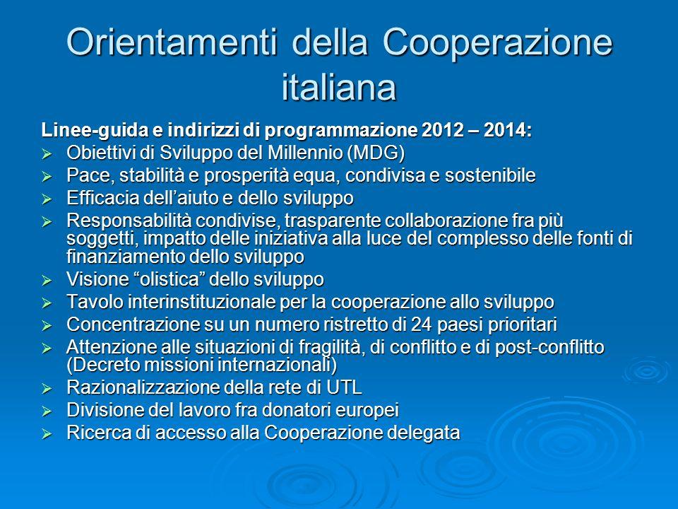 Orientamenti della Cooperazione italiana Linee-guida e indirizzi di programmazione 2012 – 2014: Obiettivi di Sviluppo del Millennio (MDG) Obiettivi di Sviluppo del Millennio (MDG) Pace, stabilità e prosperità equa, condivisa e sostenibile Pace, stabilità e prosperità equa, condivisa e sostenibile Efficacia dellaiuto e dello sviluppo Efficacia dellaiuto e dello sviluppo Responsabilità condivise, trasparente collaborazione fra più soggetti, impatto delle iniziativa alla luce del complesso delle fonti di finanziamento dello sviluppo Responsabilità condivise, trasparente collaborazione fra più soggetti, impatto delle iniziativa alla luce del complesso delle fonti di finanziamento dello sviluppo Visione olistica dello sviluppo Visione olistica dello sviluppo Tavolo interinstituzionale per la cooperazione allo sviluppo Tavolo interinstituzionale per la cooperazione allo sviluppo Concentrazione su un numero ristretto di 24 paesi prioritari Concentrazione su un numero ristretto di 24 paesi prioritari Attenzione alle situazioni di fragilità, di conflitto e di post-conflitto (Decreto missioni internazionali) Attenzione alle situazioni di fragilità, di conflitto e di post-conflitto (Decreto missioni internazionali) Razionalizzazione della rete di UTL Razionalizzazione della rete di UTL Divisione del lavoro fra donatori europei Divisione del lavoro fra donatori europei Ricerca di accesso alla Cooperazione delegata Ricerca di accesso alla Cooperazione delegata