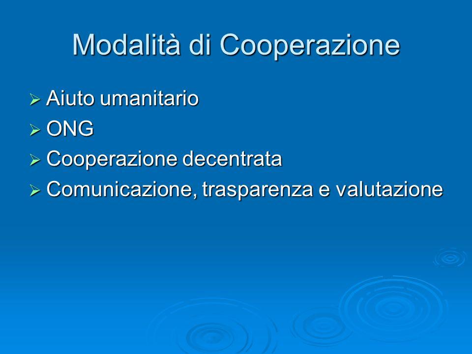 Modalità di Cooperazione Aiuto umanitario Aiuto umanitario ONG ONG Cooperazione decentrata Cooperazione decentrata Comunicazione, trasparenza e valutazione Comunicazione, trasparenza e valutazione